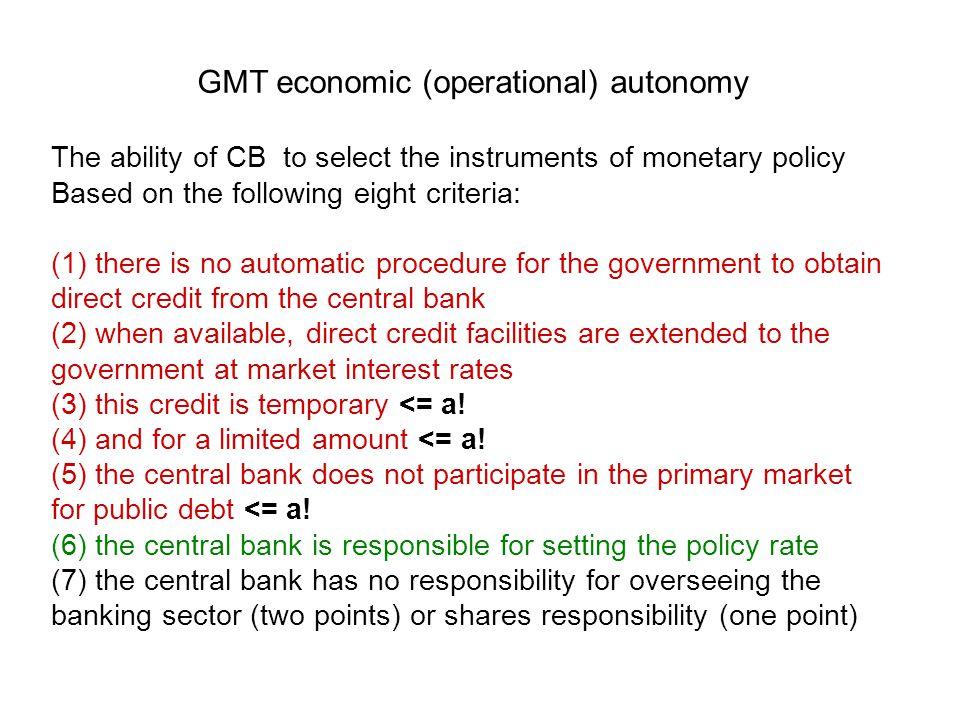 GMT economic (operational) autonomy