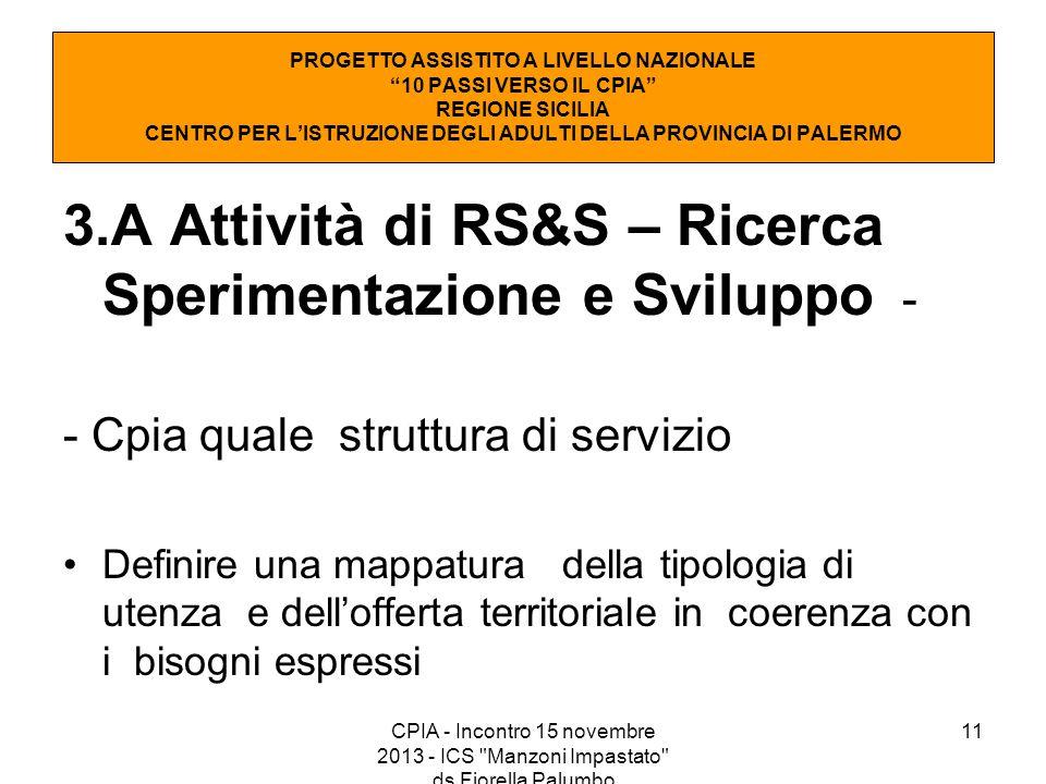 3.A Attività di RS&S – Ricerca Sperimentazione e Sviluppo -