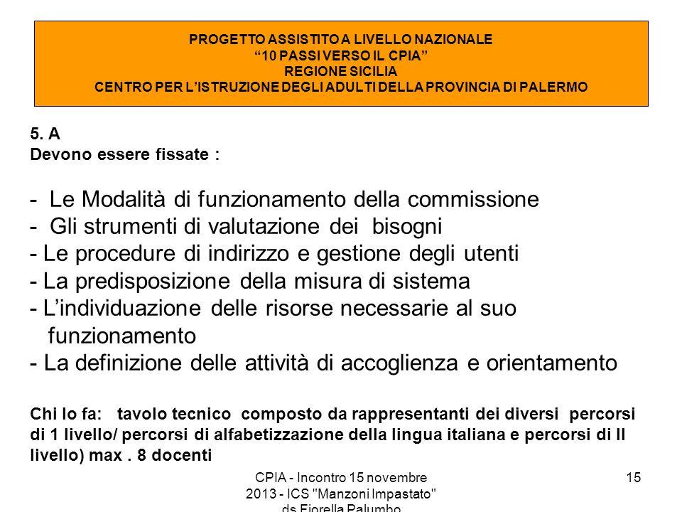 - Le Modalità di funzionamento della commissione