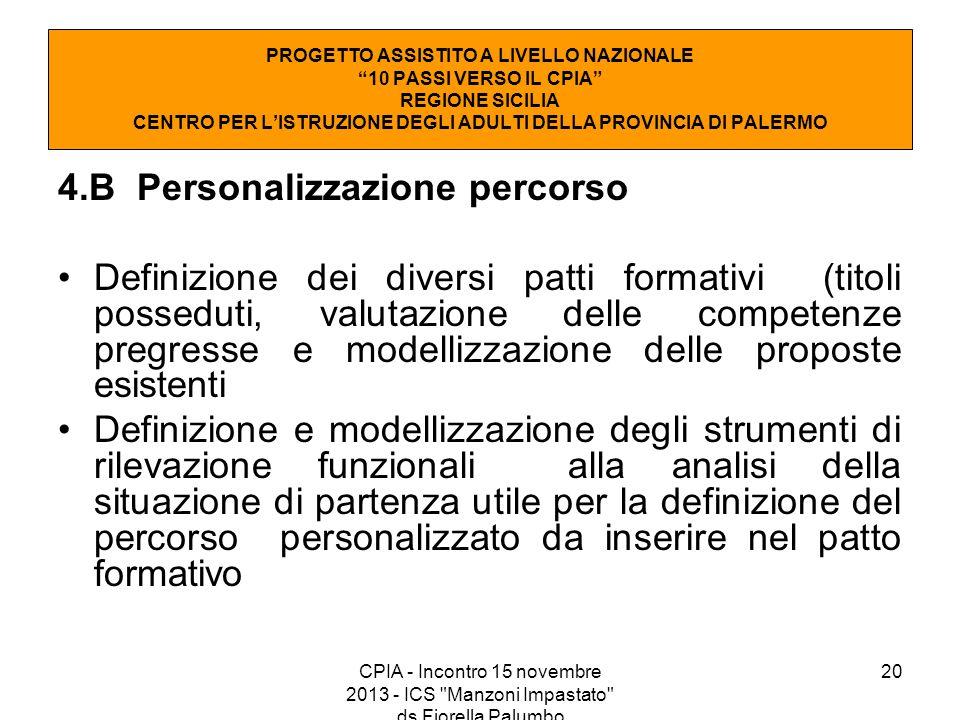 4.B Personalizzazione percorso