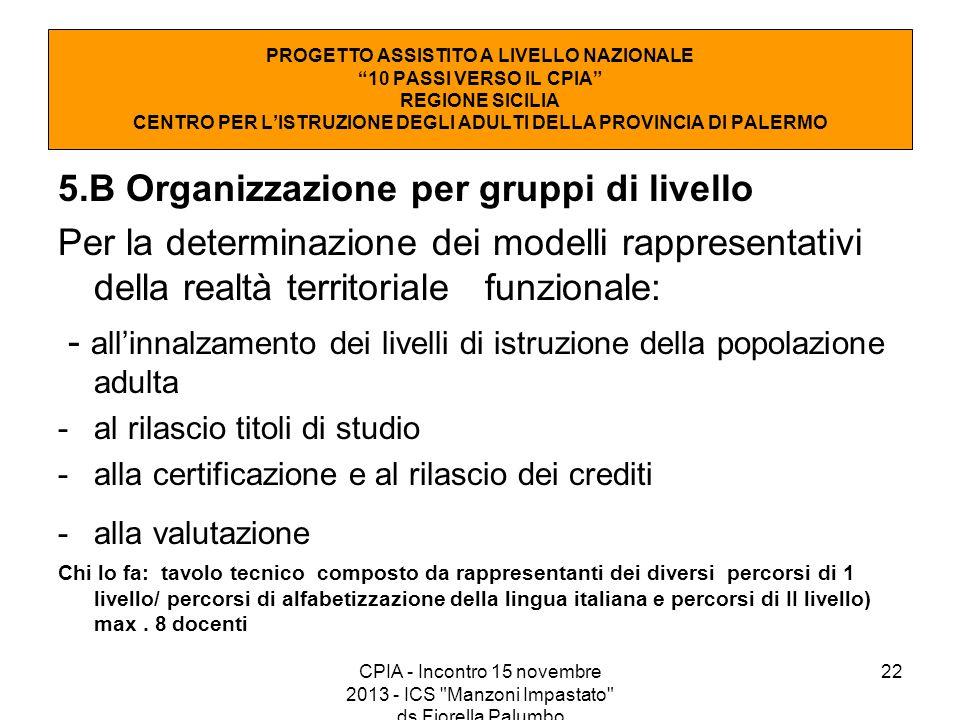 5.B Organizzazione per gruppi di livello