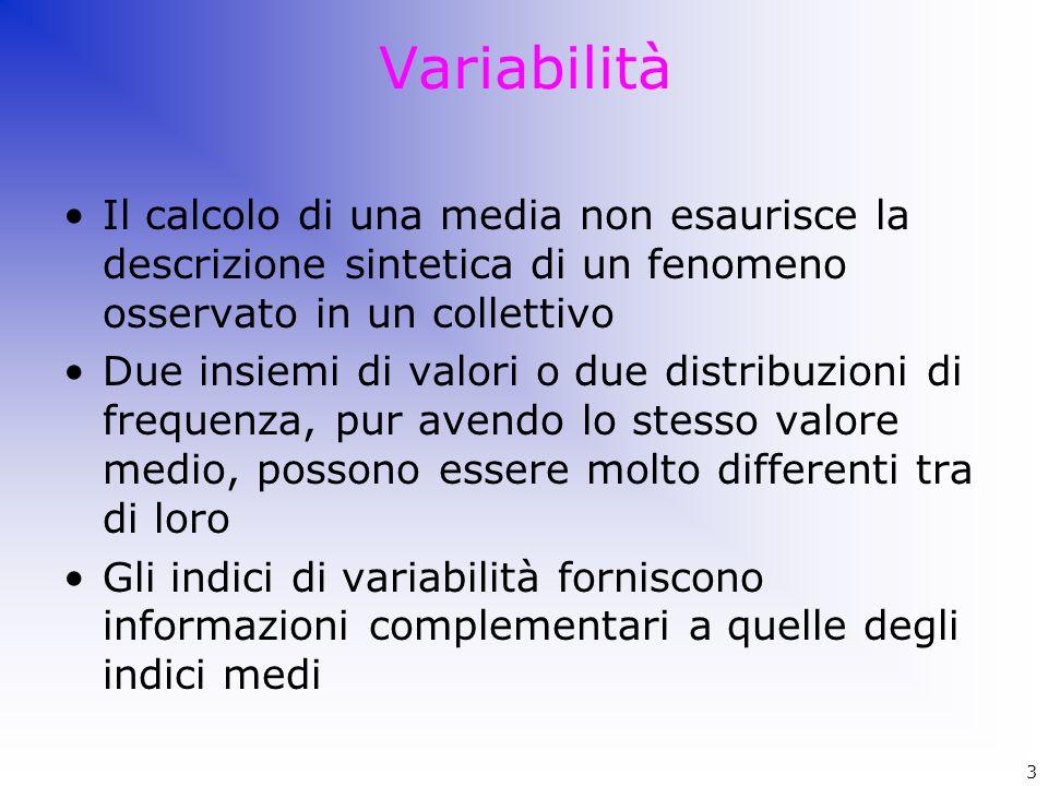 Variabilità Il calcolo di una media non esaurisce la descrizione sintetica di un fenomeno osservato in un collettivo.