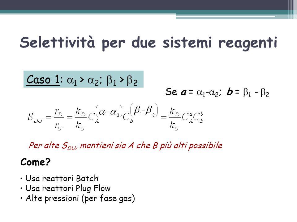 Selettività per due sistemi reagenti