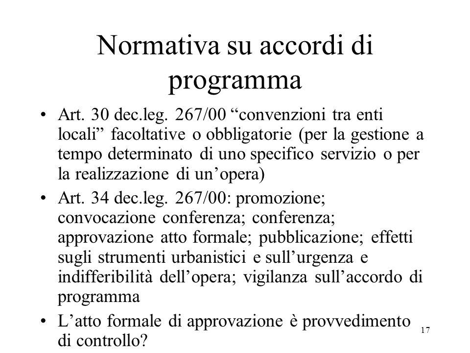 Normativa su accordi di programma