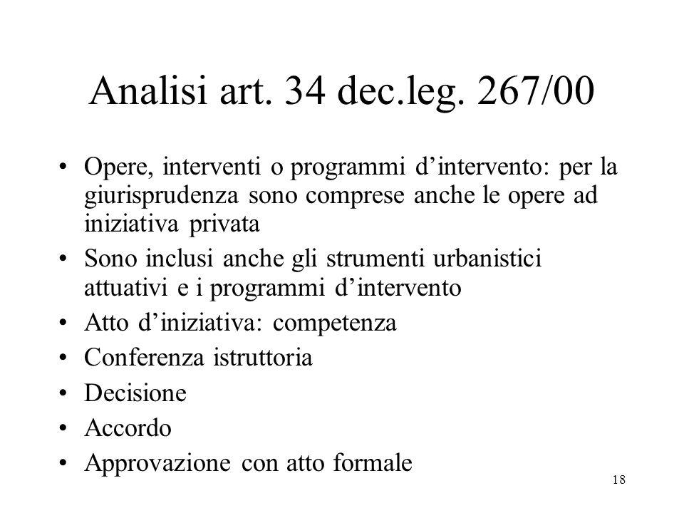 Analisi art. 34 dec.leg. 267/00 Opere, interventi o programmi d'intervento: per la giurisprudenza sono comprese anche le opere ad iniziativa privata.