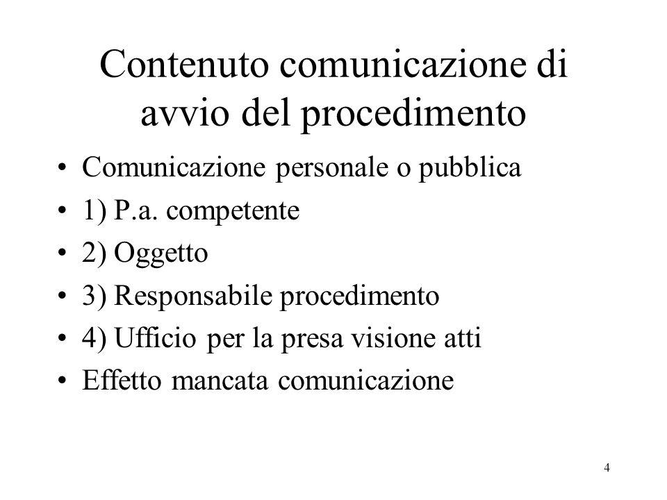 Contenuto comunicazione di avvio del procedimento