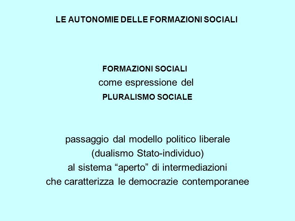 LE AUTONOMIE DELLE FORMAZIONI SOCIALI