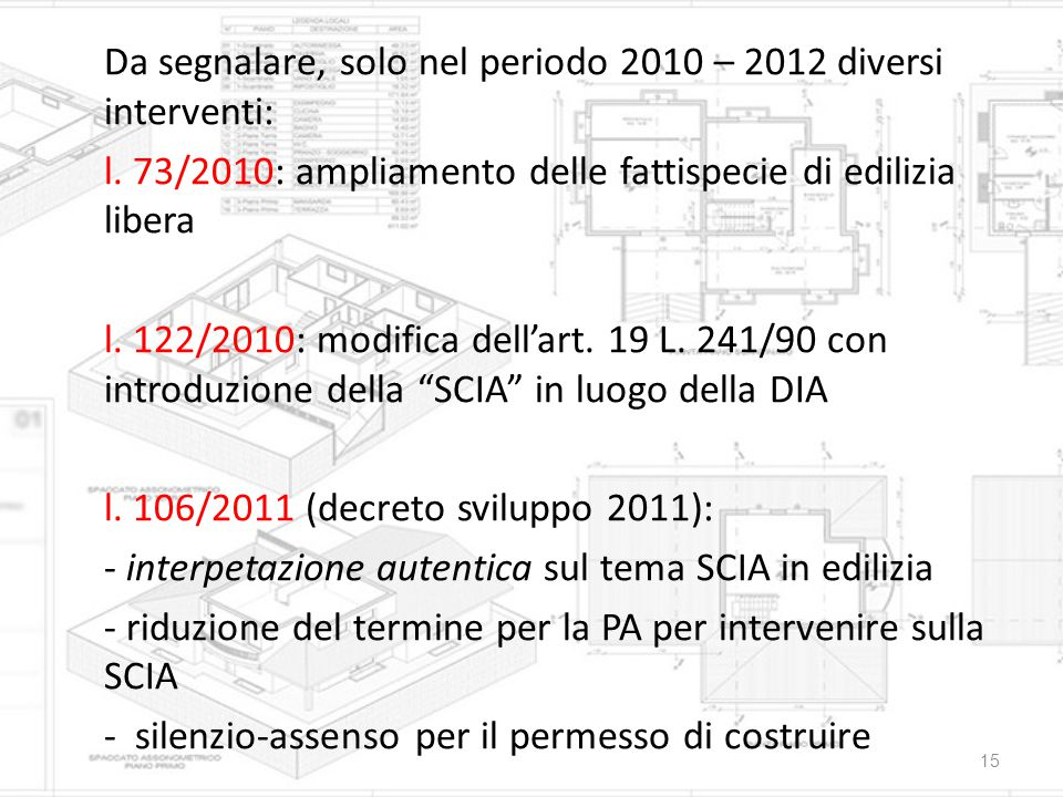 Da segnalare, solo nel periodo 2010 – 2012 diversi interventi: