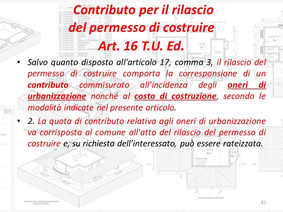 Contributo per il rilascio del permesso di costruire Art. 16 T.U. Ed.