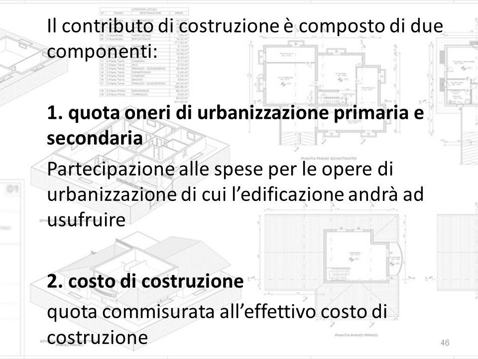 Il contributo di costruzione è composto di due componenti: 1