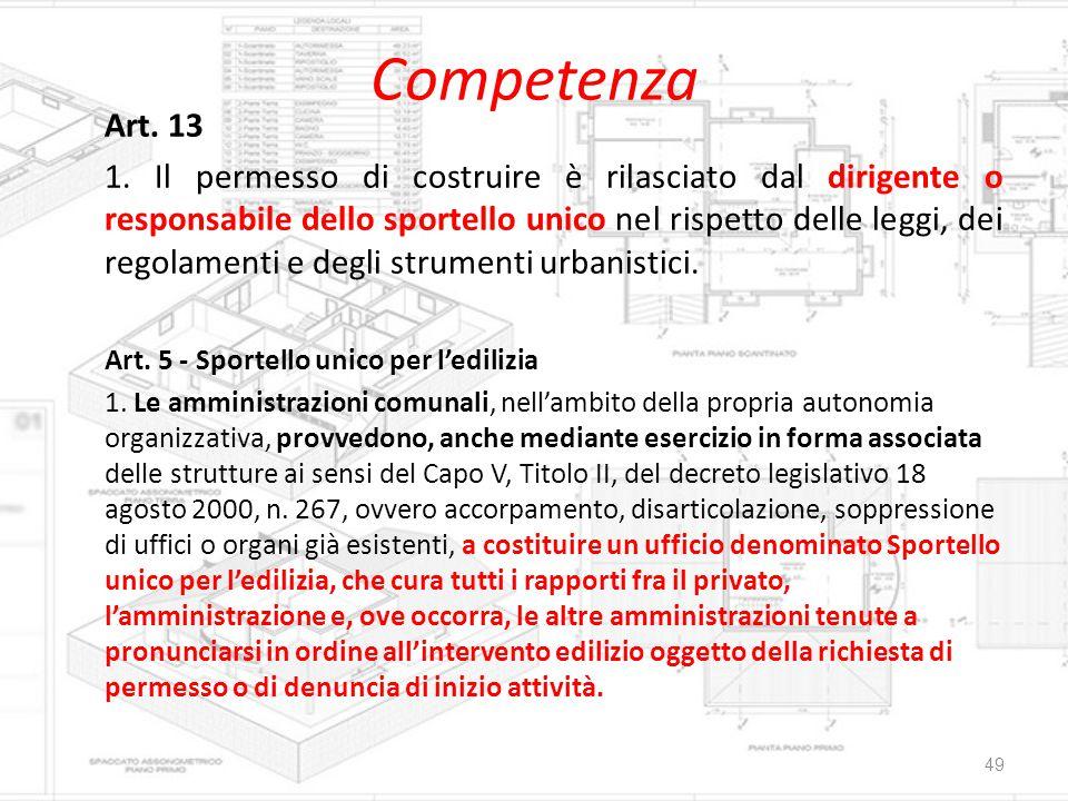 Competenza Art. 13.