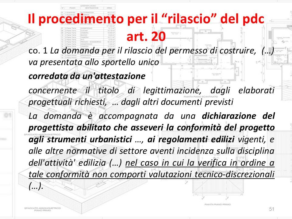 Il procedimento per il rilascio del pdc art. 20