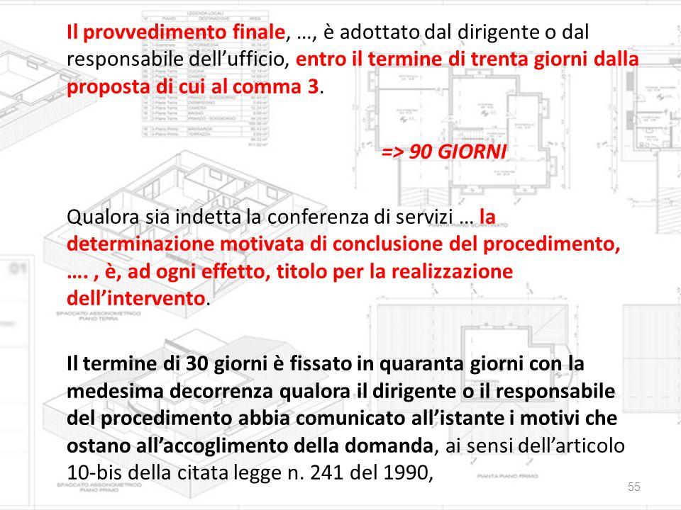 Il provvedimento finale, …, è adottato dal dirigente o dal responsabile dell'ufficio, entro il termine di trenta giorni dalla proposta di cui al comma 3.
