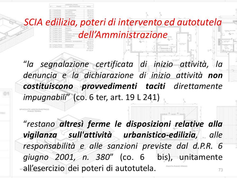SCIA edilizia, poteri di intervento ed autotutela dell'Amministrazione