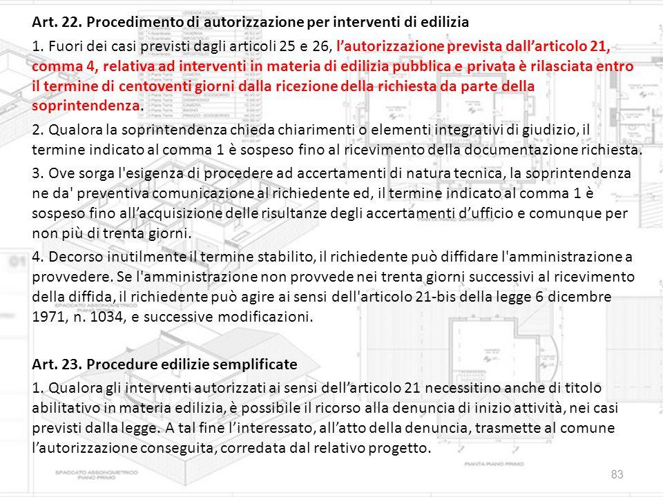 Art. 22. Procedimento di autorizzazione per interventi di edilizia