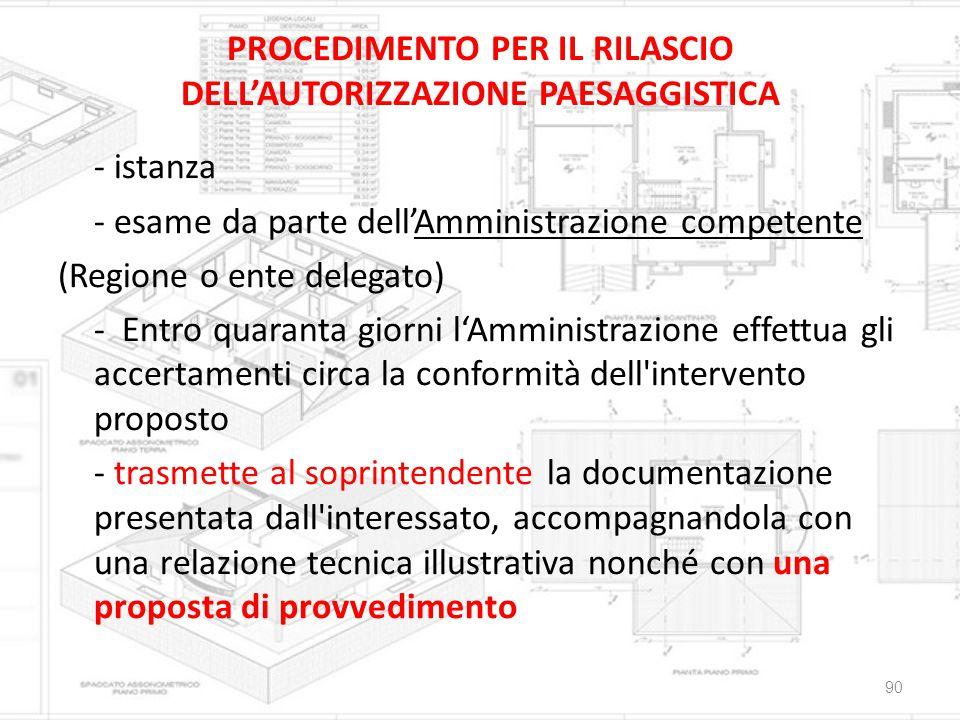 PROCEDIMENTO PER IL RILASCIO DELL'AUTORIZZAZIONE PAESAGGISTICA