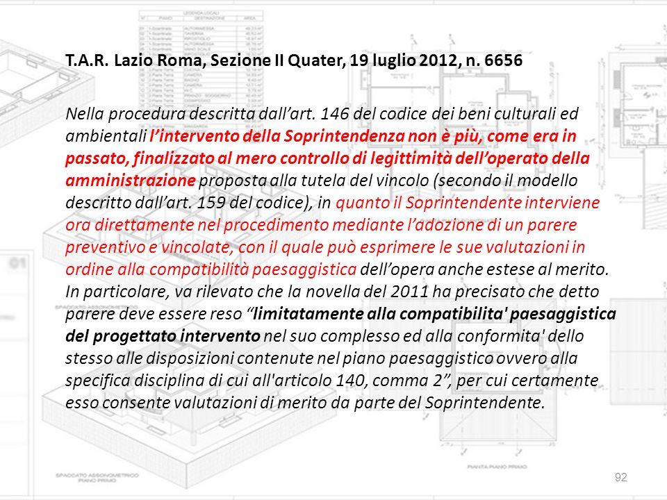 T. A. R. Lazio Roma, Sezione II Quater, 19 luglio 2012, n