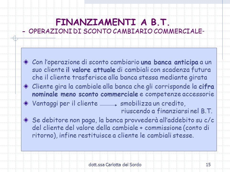 FINANZIAMENTI A B.T. - OPERAZIONI DI SCONTO CAMBIARIO COMMERCIALE-