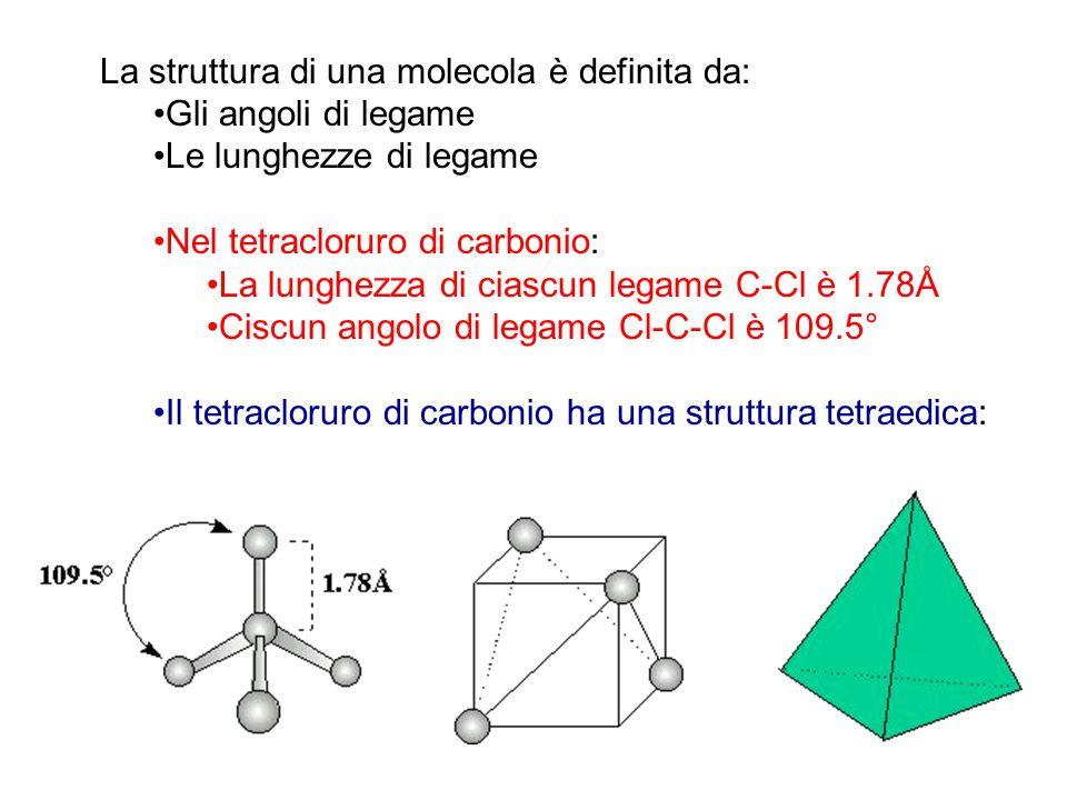La struttura di una molecola è definita da: