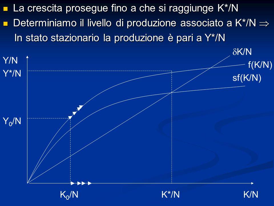 La crescita prosegue fino a che si raggiunge K*/N