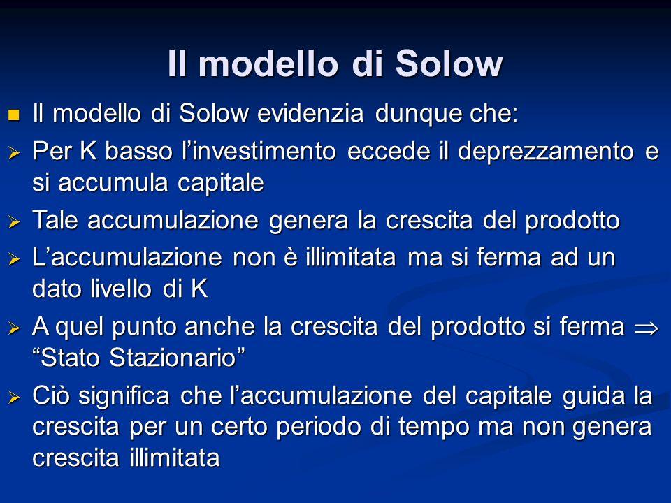 Il modello di Solow Il modello di Solow evidenzia dunque che:
