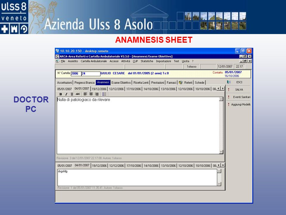 ANAMNESIS SHEET DOCTOR PC