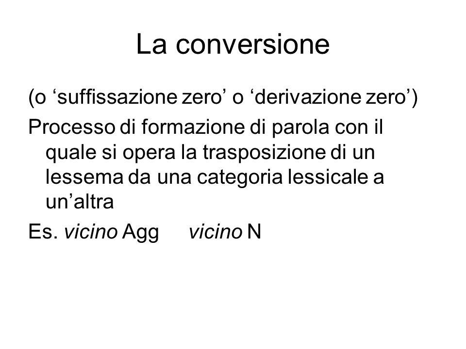 La conversione (o 'suffissazione zero' o 'derivazione zero')
