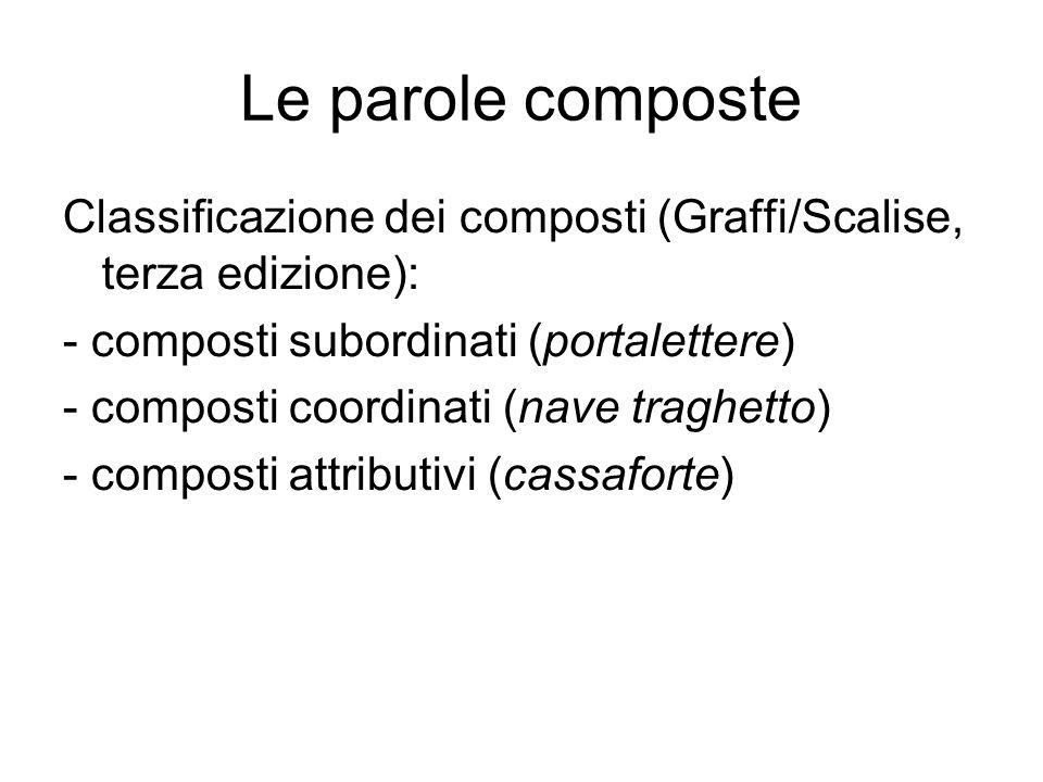 Le parole composte Classificazione dei composti (Graffi/Scalise, terza edizione): - composti subordinati (portalettere)