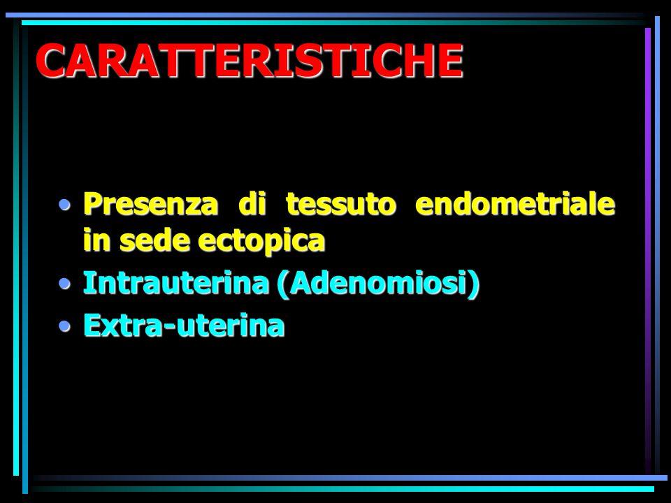 CARATTERISTICHE Presenza di tessuto endometriale in sede ectopica