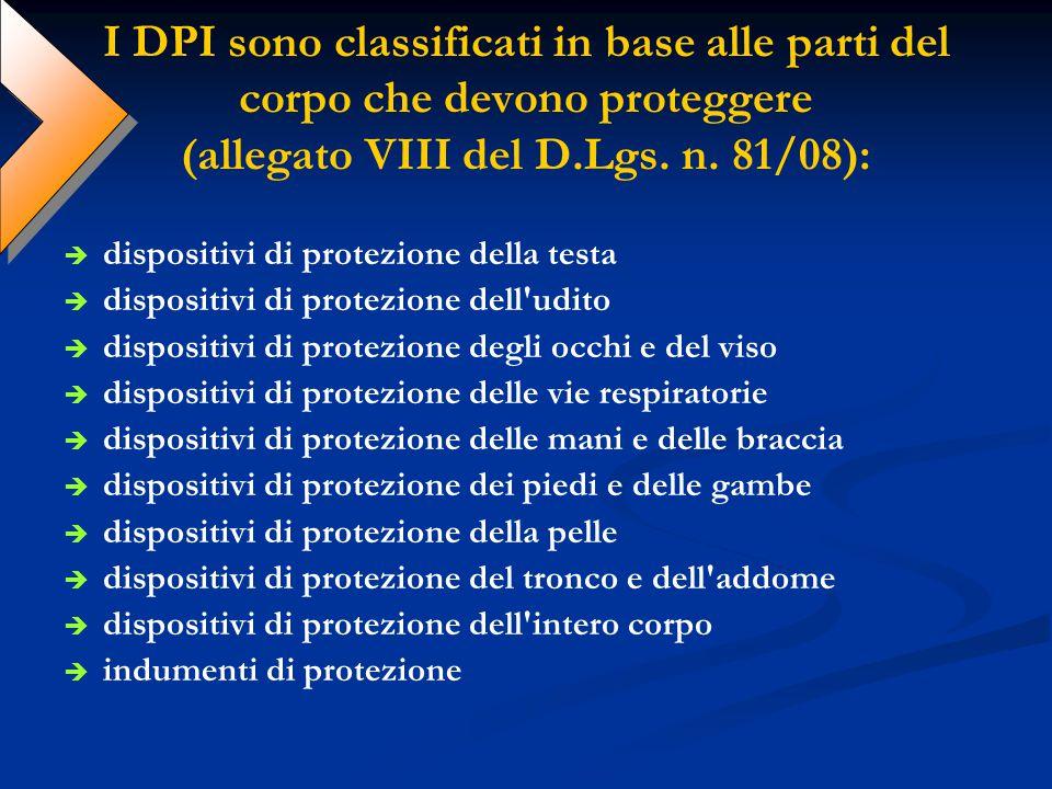 I DPI sono classificati in base alle parti del corpo che devono proteggere (allegato VIII del D.Lgs. n. 81/08):