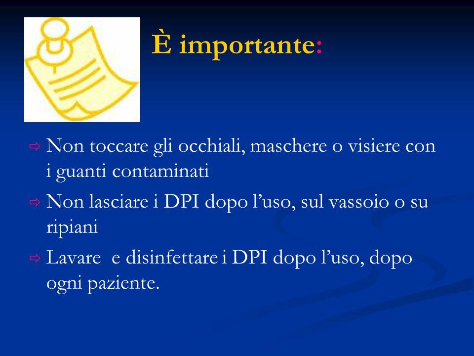 È importante: Non toccare gli occhiali, maschere o visiere con i guanti contaminati. Non lasciare i DPI dopo l'uso, sul vassoio o su ripiani.