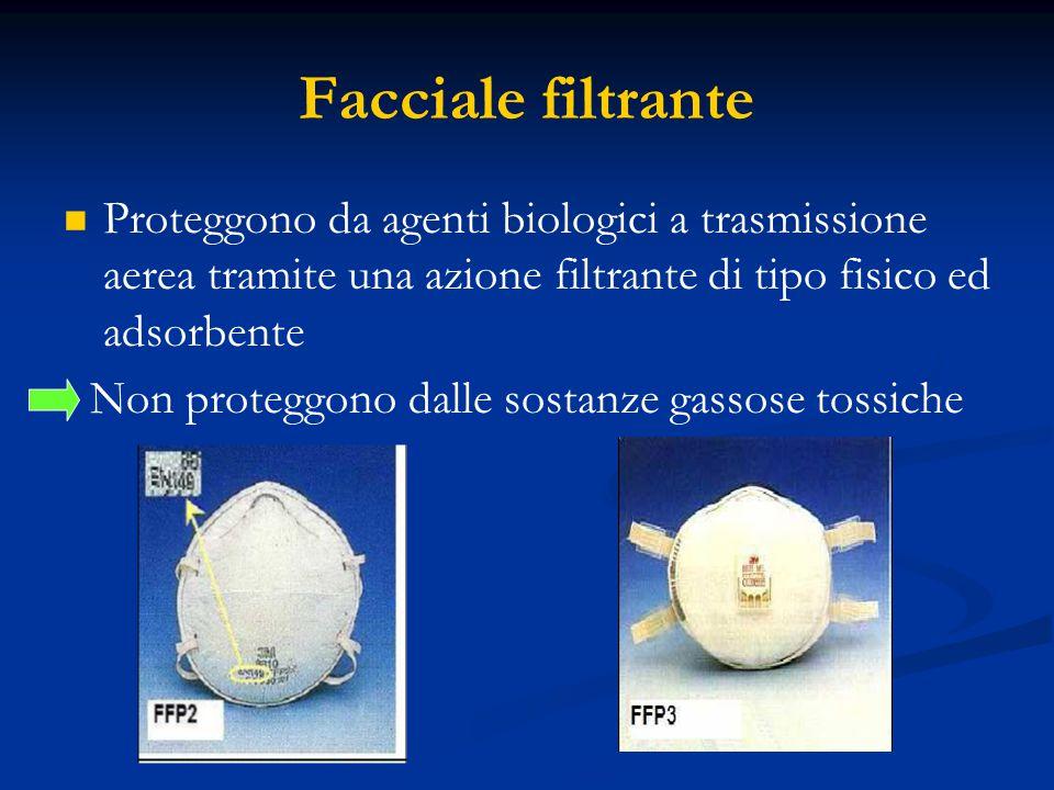 Facciale filtrante Proteggono da agenti biologici a trasmissione aerea tramite una azione filtrante di tipo fisico ed adsorbente.