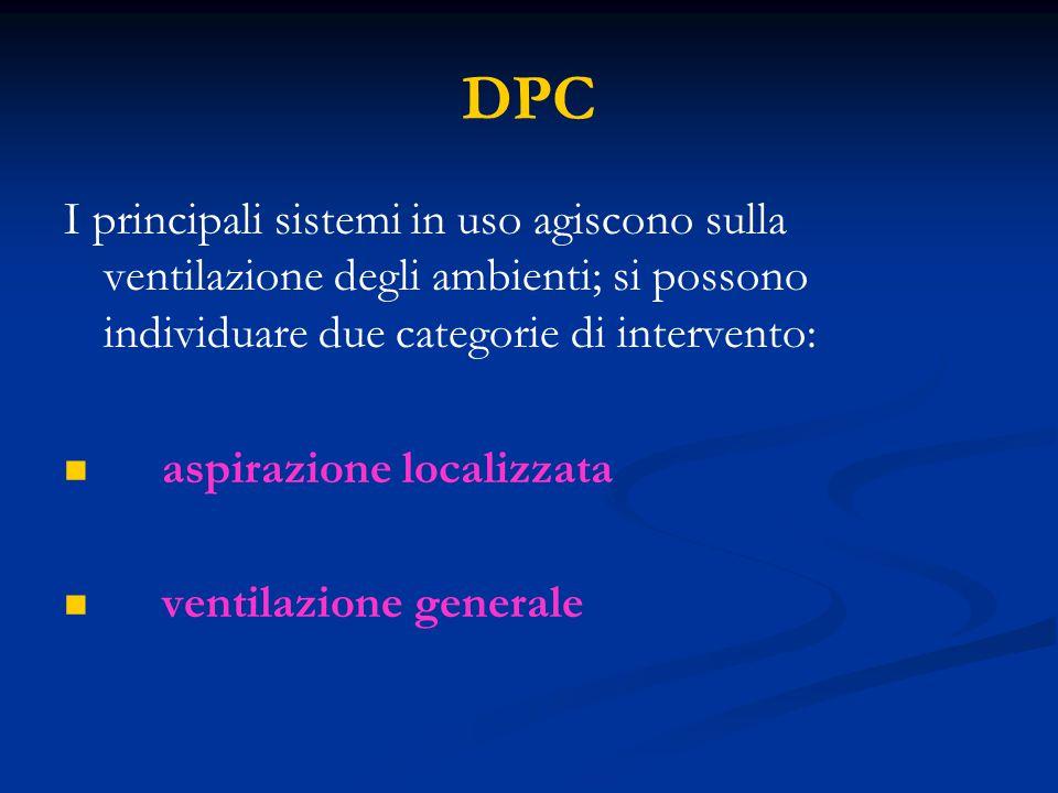 DPC I principali sistemi in uso agiscono sulla ventilazione degli ambienti; si possono individuare due categorie di intervento: