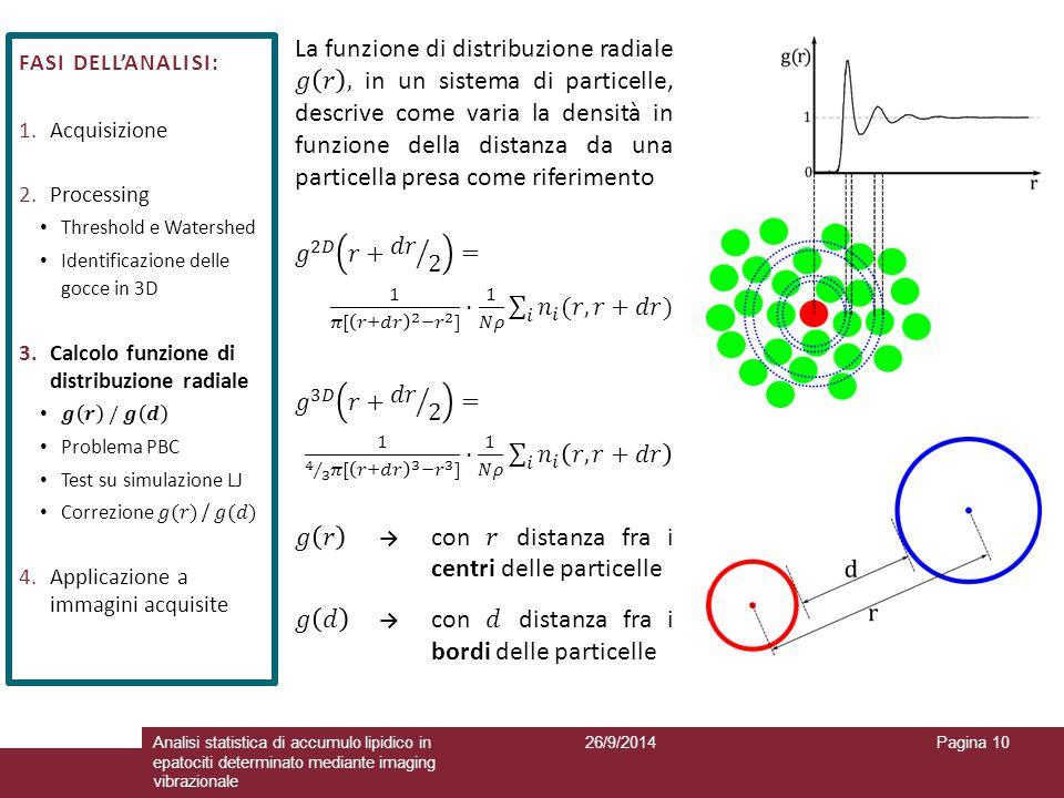 𝑔 𝑟 → con 𝑟 distanza fra i centri delle particelle