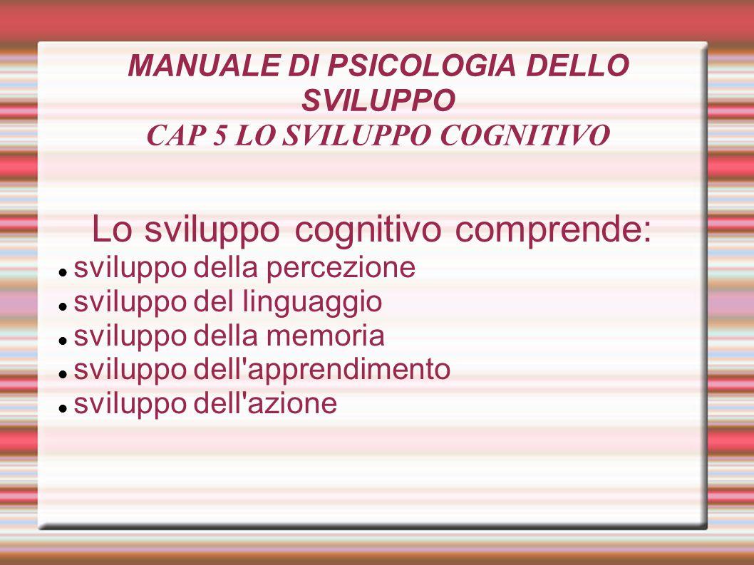 MANUALE DI PSICOLOGIA DELLO SVILUPPO CAP 5 LO SVILUPPO COGNITIVO
