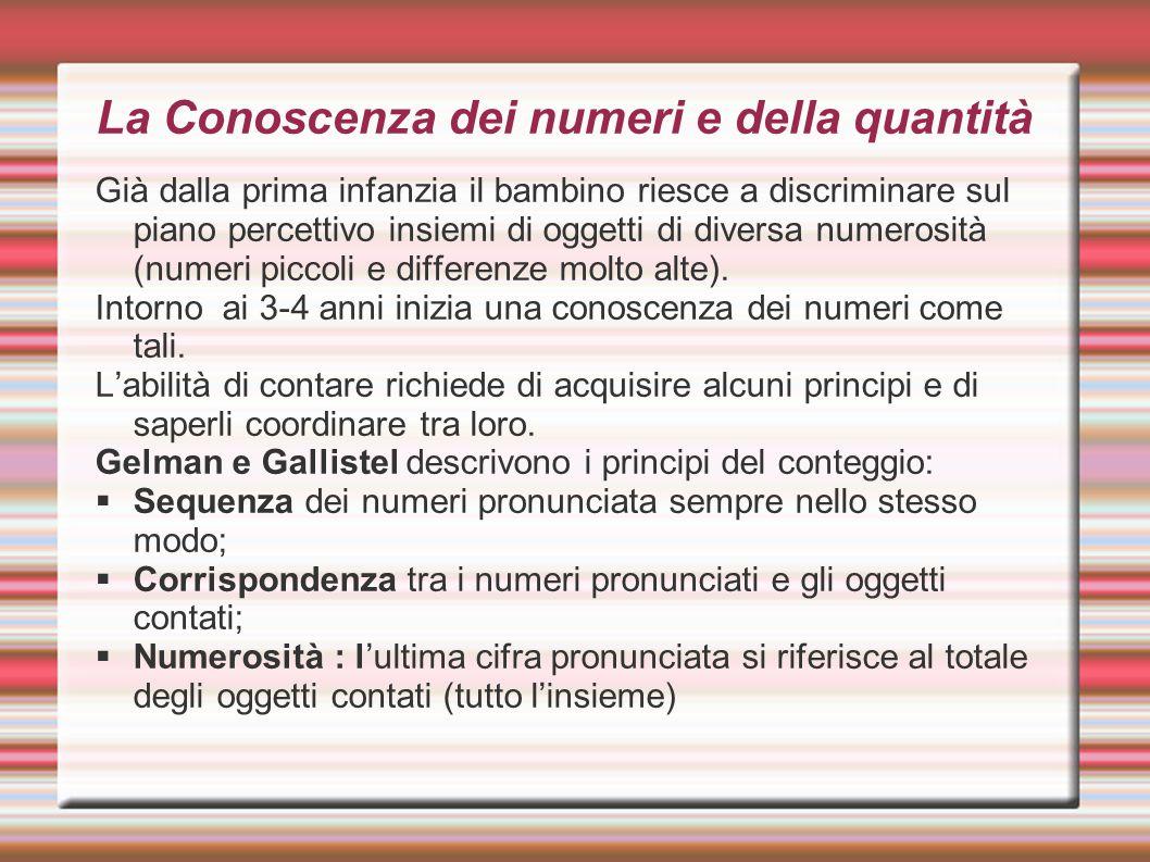 La Conoscenza dei numeri e della quantità