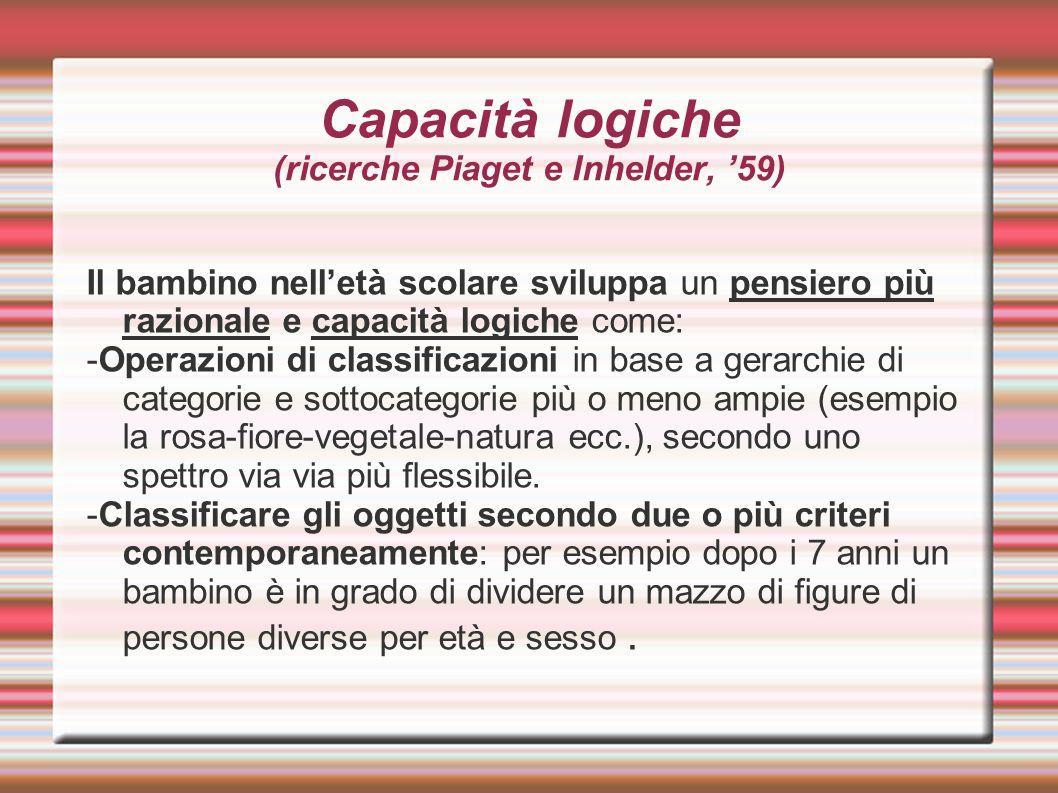 Capacità logiche (ricerche Piaget e Inhelder, '59)