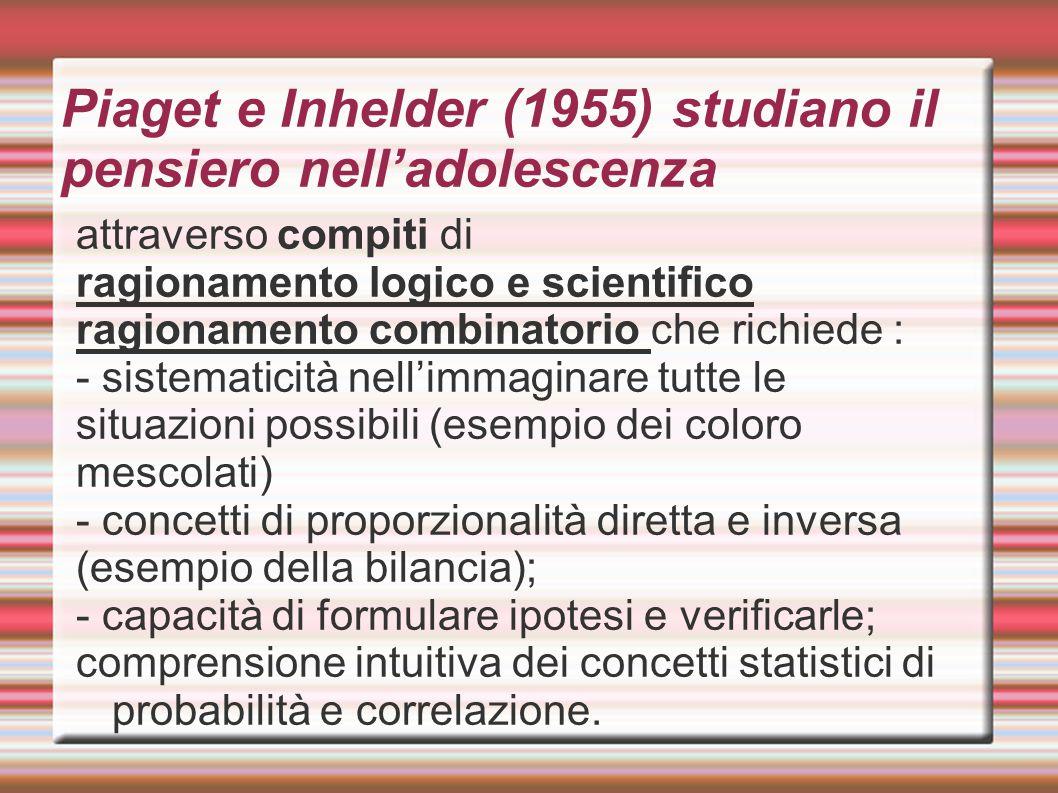 Piaget e Inhelder (1955) studiano il pensiero nell'adolescenza