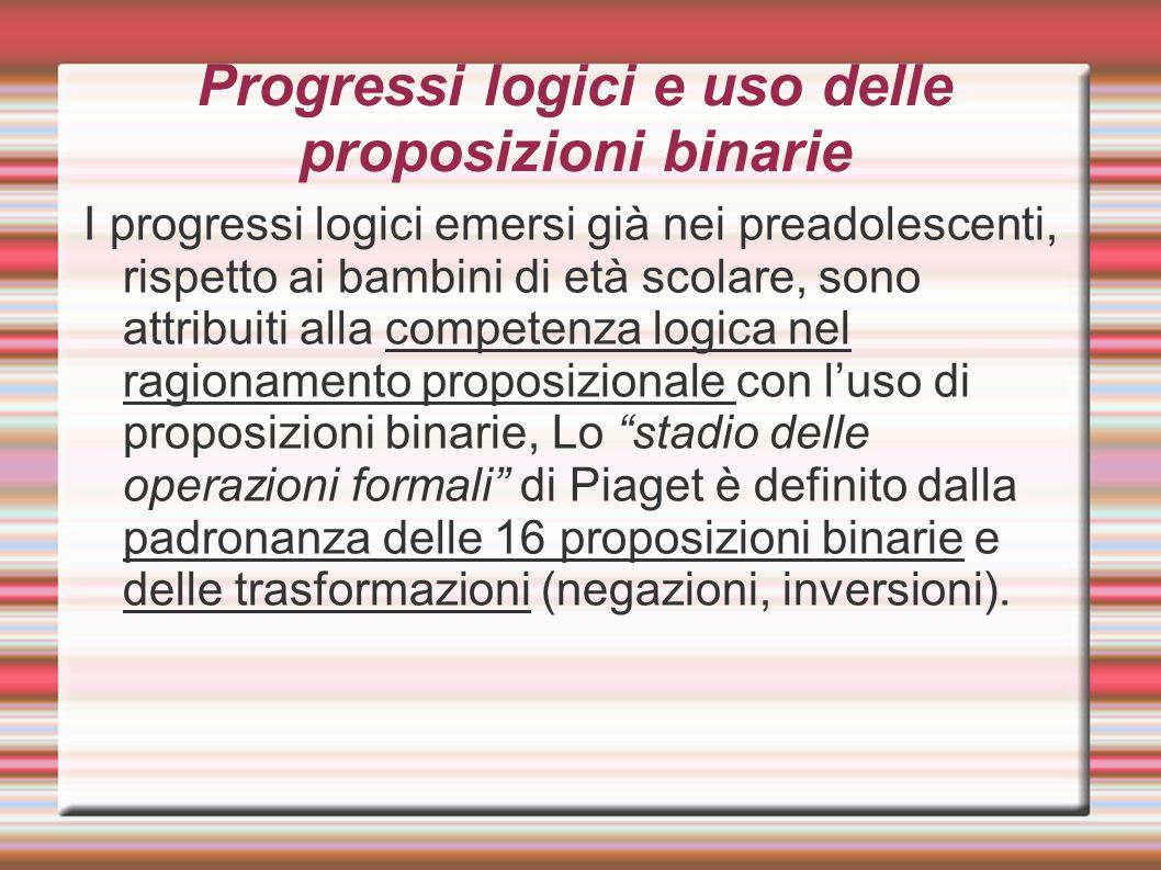 Progressi logici e uso delle proposizioni binarie