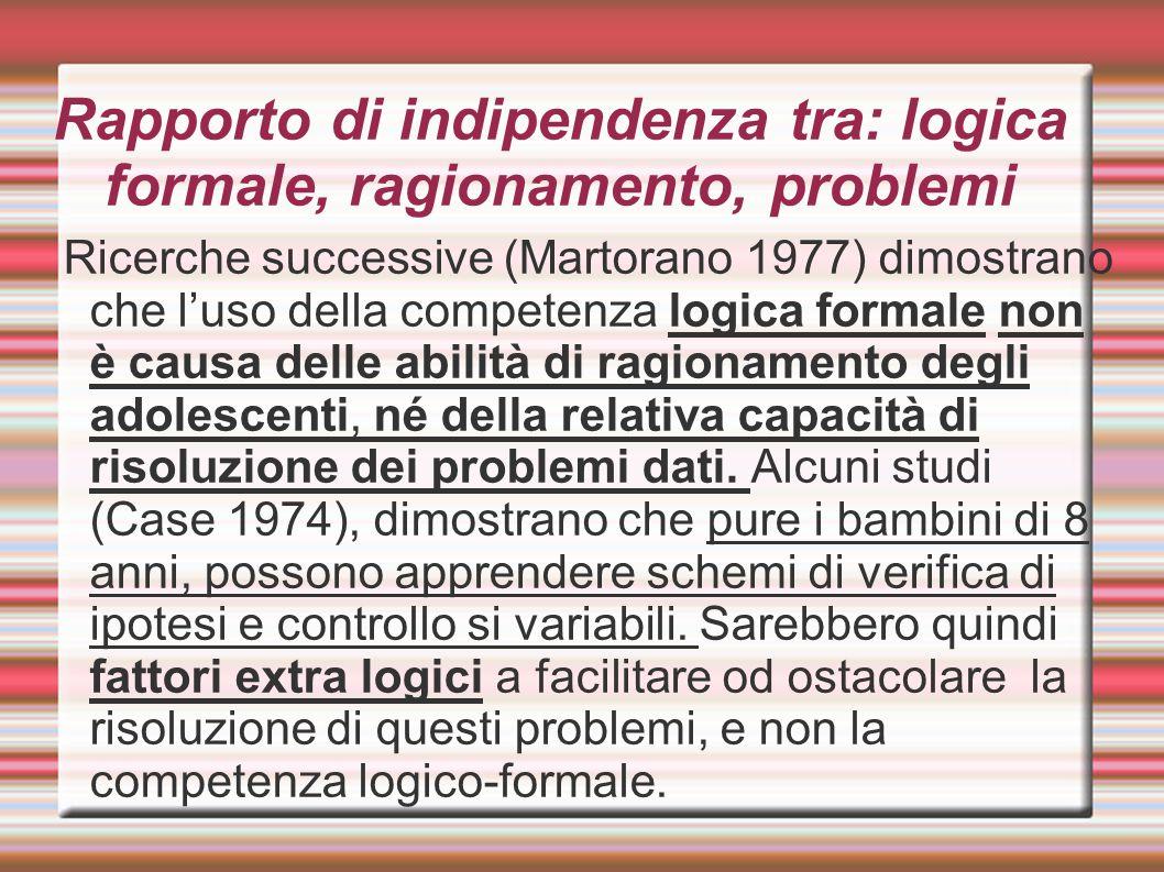 Rapporto di indipendenza tra: logica formale, ragionamento, problemi