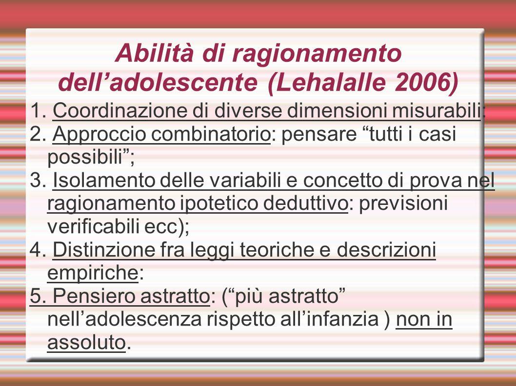 Abilità di ragionamento dell'adolescente (Lehalalle 2006)