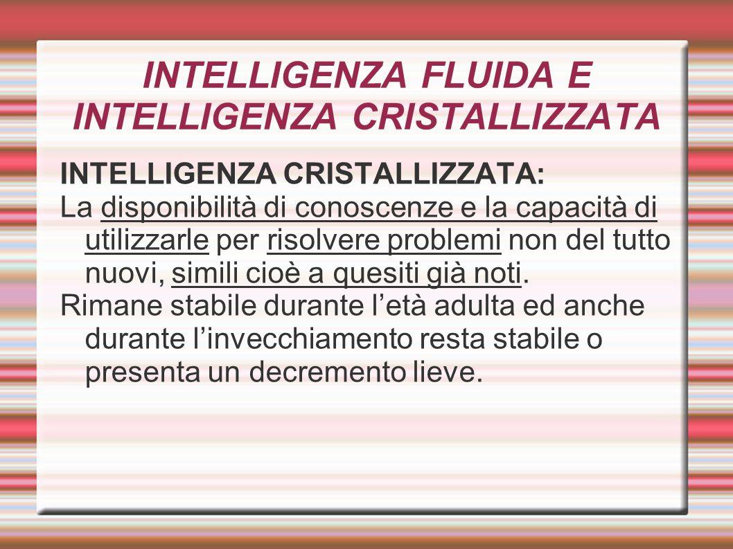 INTELLIGENZA FLUIDA E INTELLIGENZA CRISTALLIZZATA