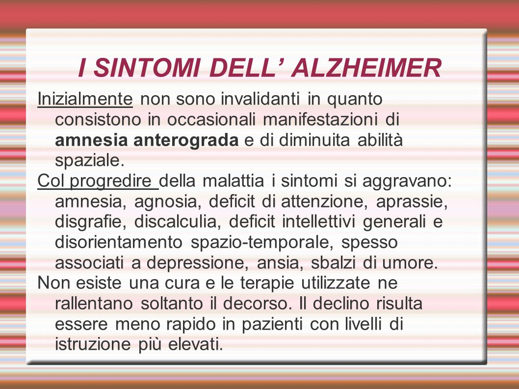 I SINTOMI DELL' ALZHEIMER
