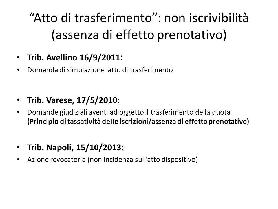 Atto di trasferimento : non iscrivibilità (assenza di effetto prenotativo)