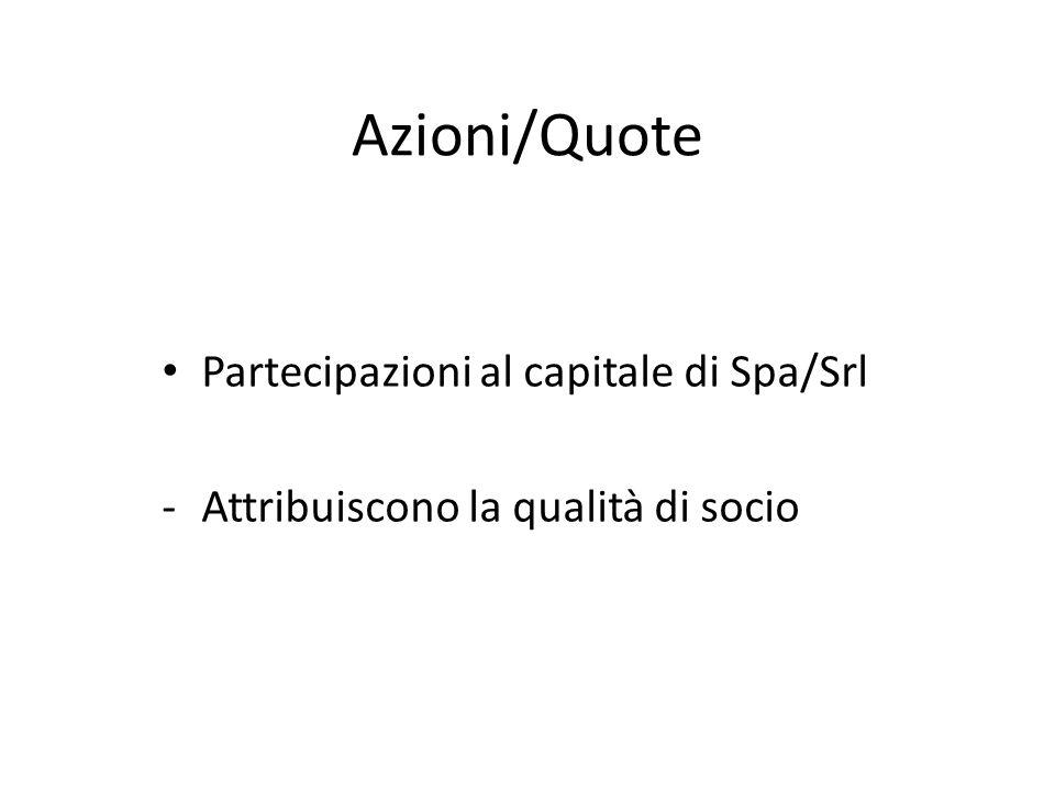 Azioni/Quote Partecipazioni al capitale di Spa/Srl