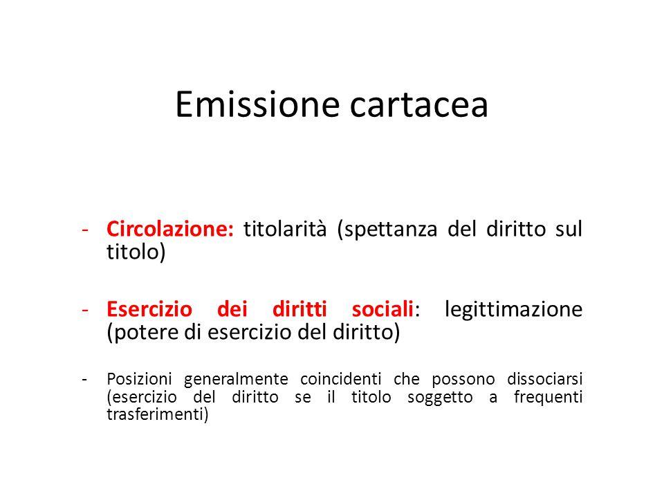 Emissione cartacea Circolazione: titolarità (spettanza del diritto sul titolo)