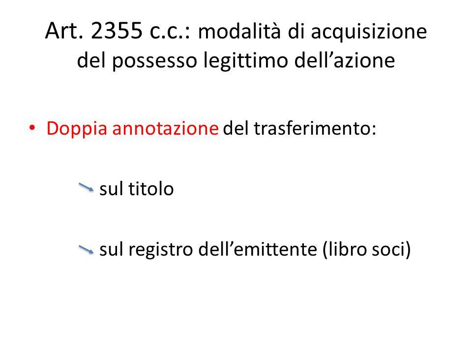 Art. 2355 c.c.: modalità di acquisizione del possesso legittimo dell'azione
