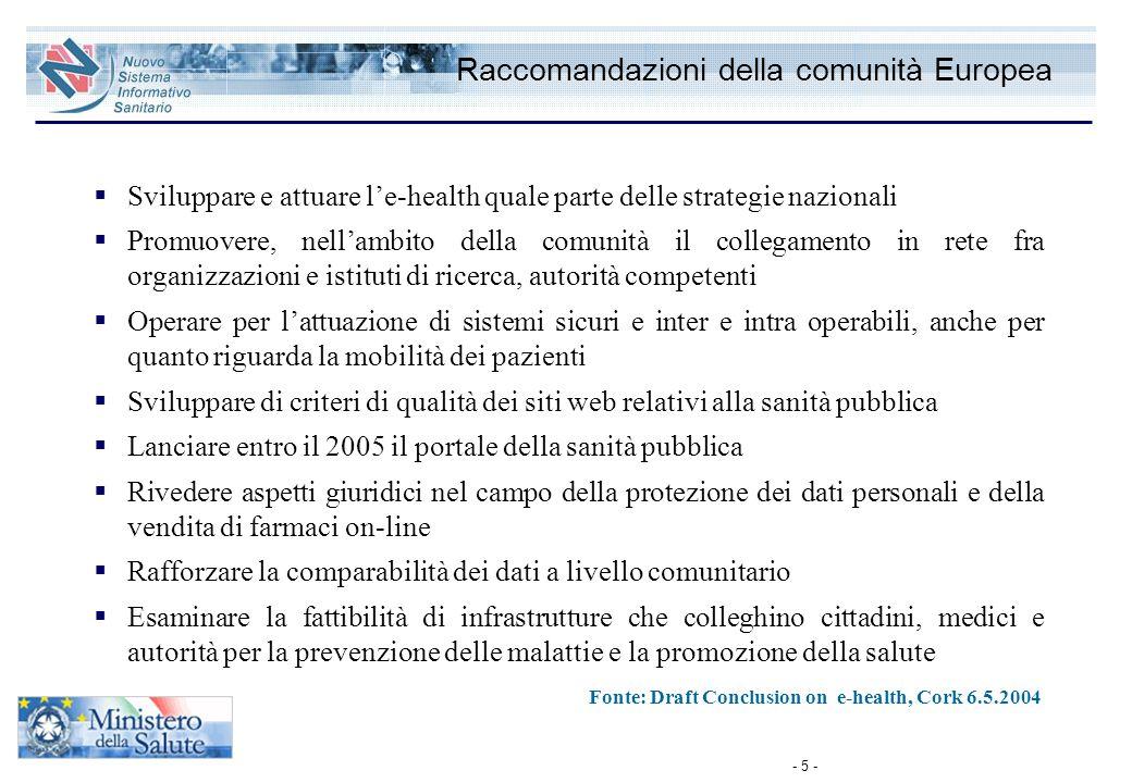 Raccomandazioni della comunità Europea