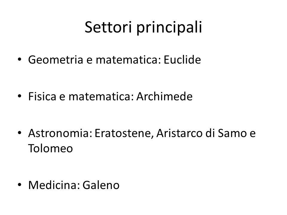 Settori principali Geometria e matematica: Euclide