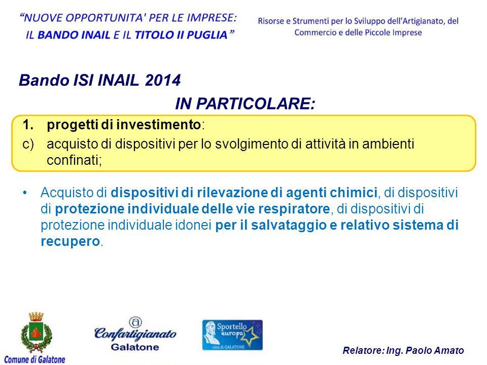 Relatore: Ing. Paolo Amato